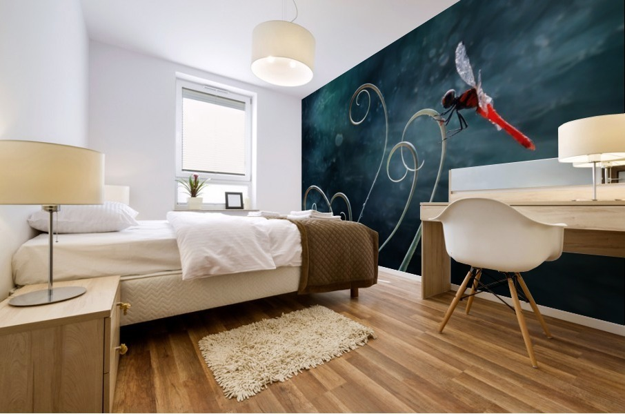 Red Dragonfly Mural print