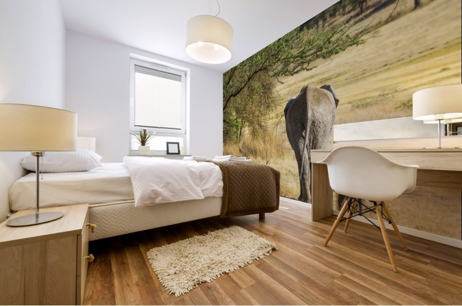 An African Elephant with it's young; Tanzania Mural print