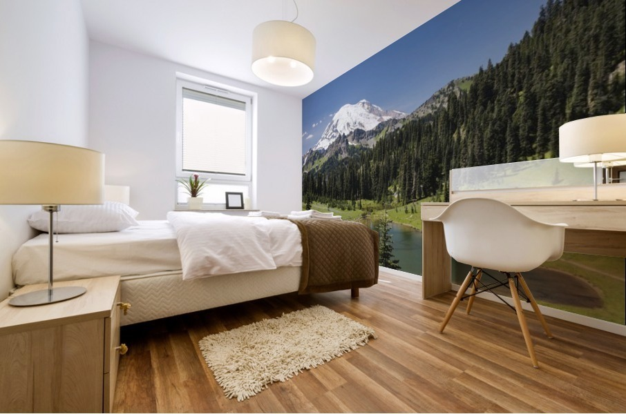 A view of Mount Rainier above Tipsoo Lake, near the top of Chinook Pass on Highway 410 in the Cascade Mountains; Washington, United States of America Mural print