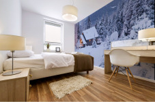 Snowcovered Home In A Wintry Meadow At Dawn With Inside Lights On, Girdwood, Southcentral Alaska Mural print