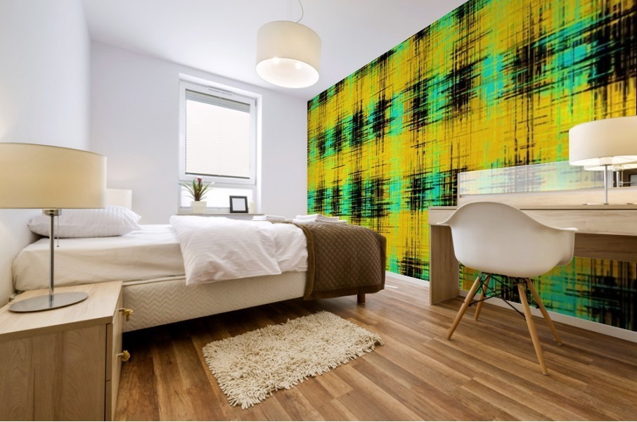 plaid pattern abstract texture in yellow green black Mural print