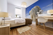 View Of Polar Bear Sow (Ursus Maritimus) With Her Triplet Cubs On The Wind Swept Plains Of Wapusk National Park, Manitoba, Canada, Winter, Composite Mural print