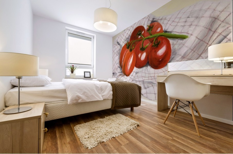 Tomatoes on a Striped Cloth  Mural print