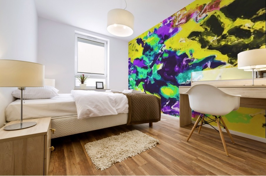 psychedelic splash painting abstract texture in yellow blue green purple Mural print