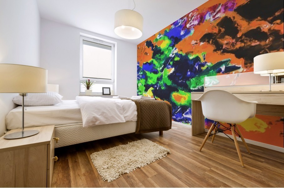 psychedelic splash painting abstract texture in brown green blue yellow pink Mural print