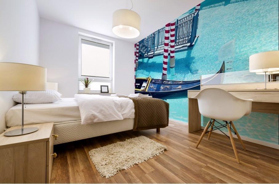Classic Gondola boat and blue water Mural print