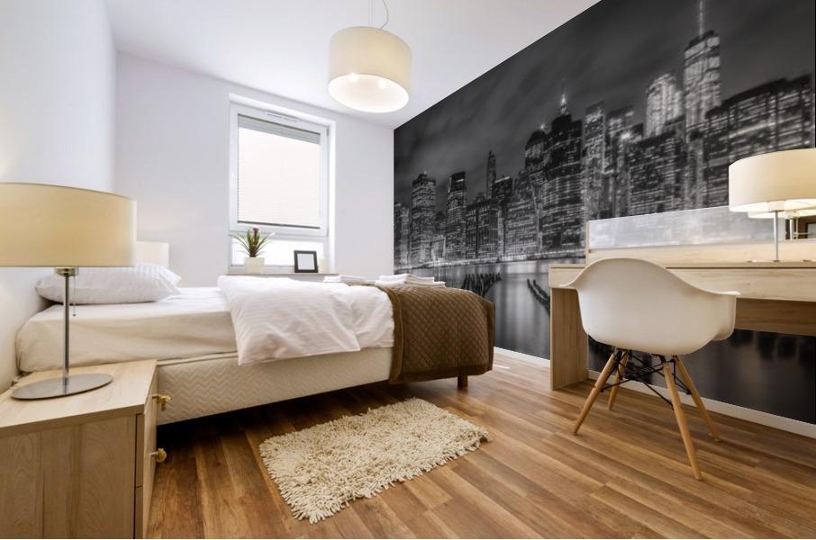 NEW YORK CITY Monochrome Night Impressions   Panoramic Mural print