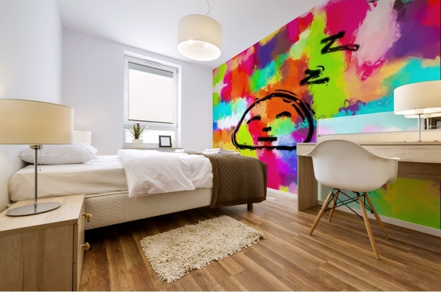 sleeping cartoon face with painting abstract background in red pink yellow blue orange Mural print