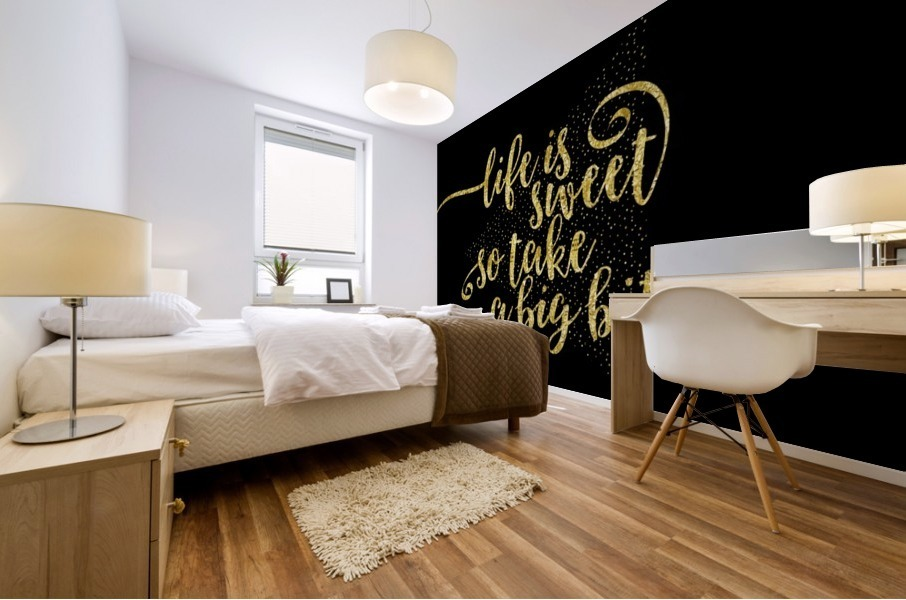 TEXT ART GOLD Life is sweet  Mural print