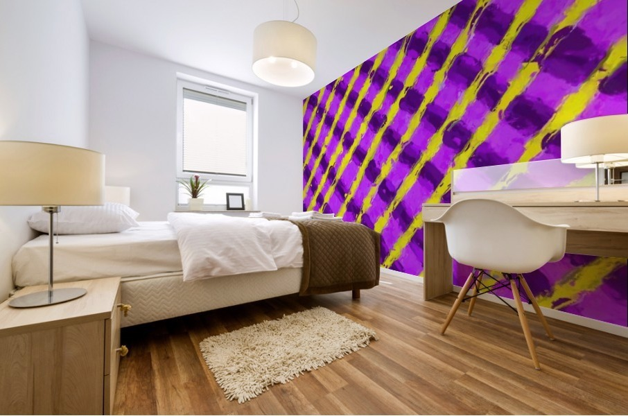 line pattern painting abstract background in purple and yellow Mural print
