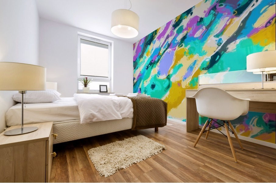 camouflage pattern painting abstract background in green blue purple yellow Mural print