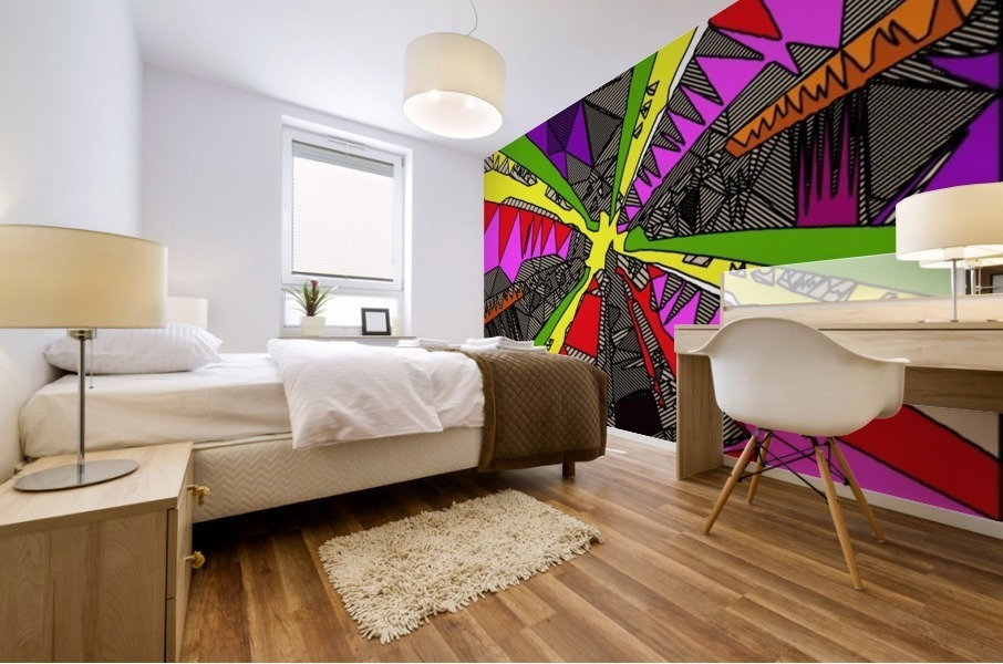 psychedelic geometric pattern drawing abstract background in red pink green yellow Mural print