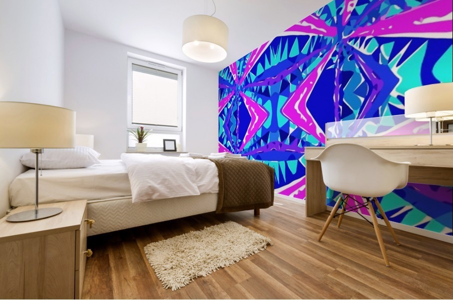 psychedelic geometric abstract pattern background in blue pink purple Mural print