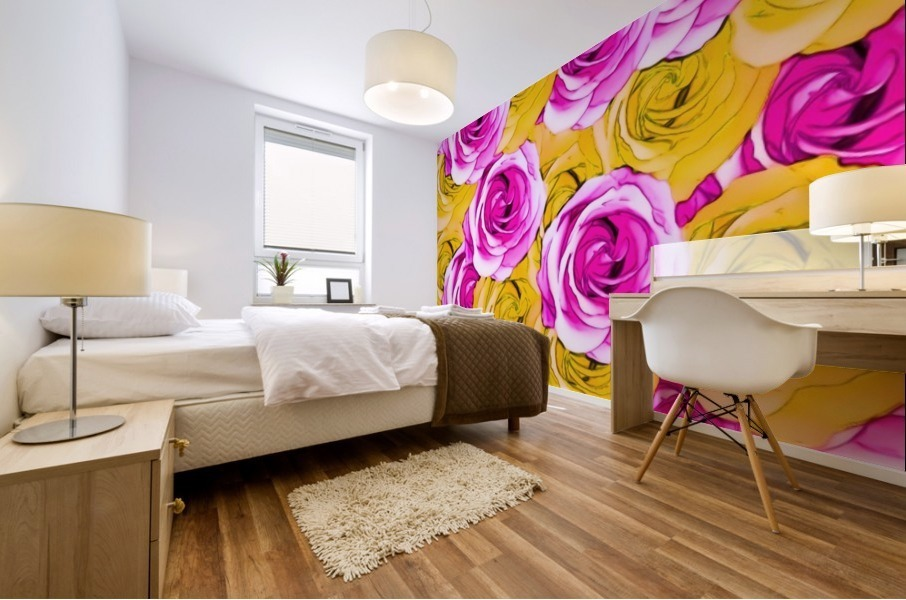 pink rose and yellow rose pattern abstract background Mural print