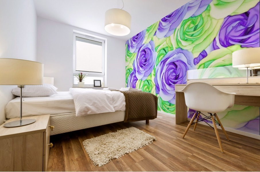 purple rose and green rose pattern abstract background Mural print