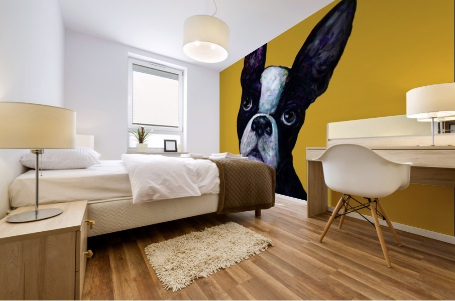 BOSTON TERRIER ON YELLOW Mural print