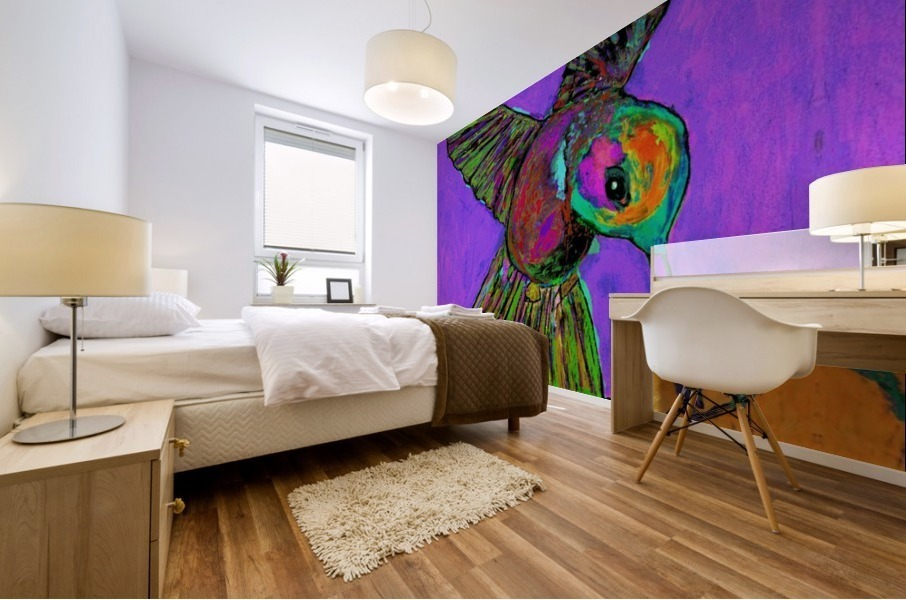 HUMMINGBIRD ON PURPLE Mural print