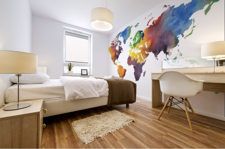 Colorful Map Of The World Watercolor Mural print