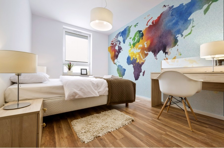 Bright Watercolor Map Of The World Mural print