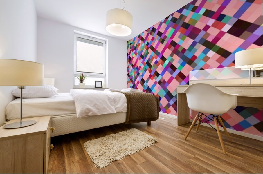 geometric pixel square pattern abstract background in pink purple blue yellow green Mural print