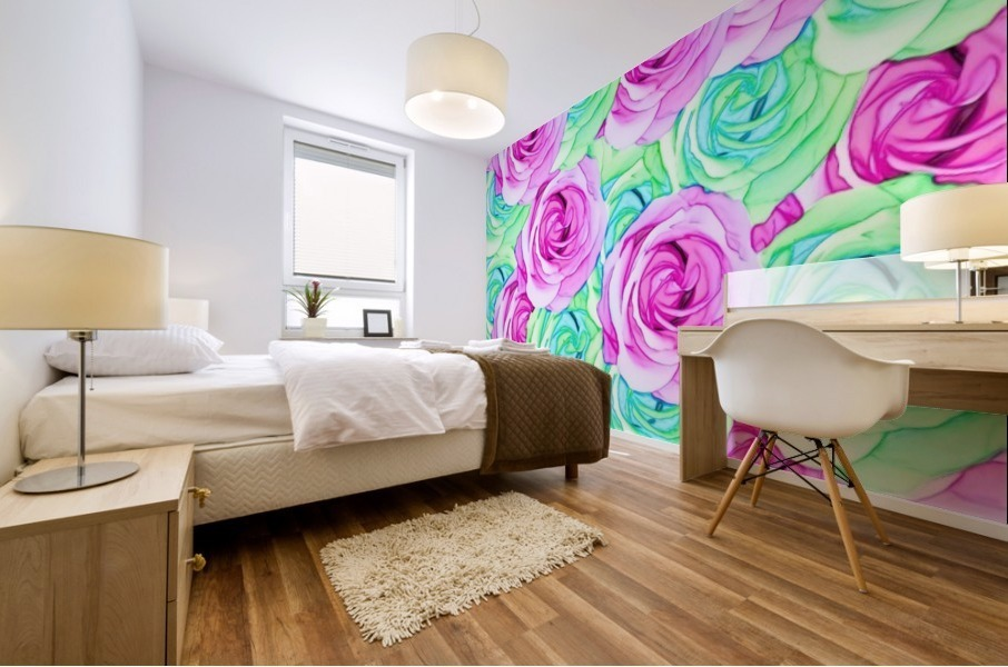blooming rose texture pattern abstract background in pink and green Mural print