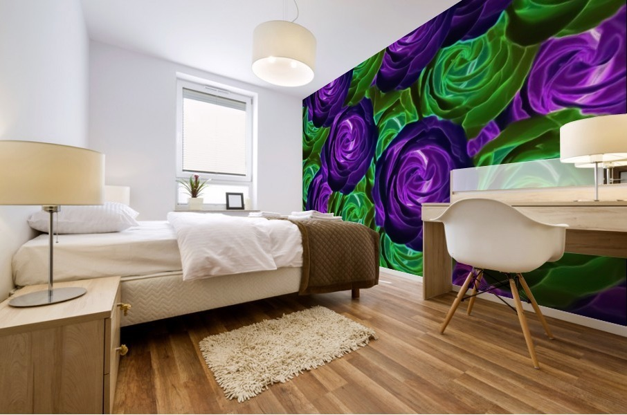 blooming rose texture pattern abstract background in purple and green Mural print