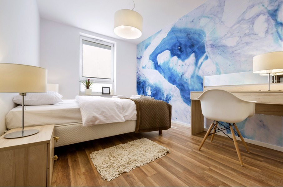 blue abstract marble Mural print