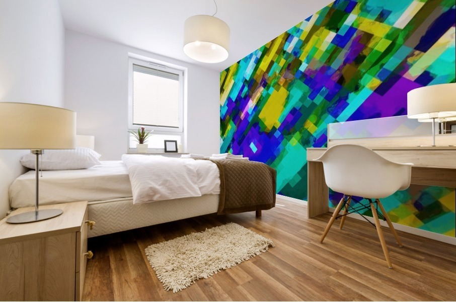 psychedelic geometric square pixel pattern abstract in green yellow blue purple Mural print