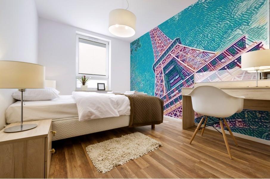Eiffel Tower- Teal Mural print
