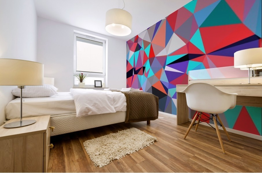 geometric triangle polygon pattern abstract background in red blue purple Mural print
