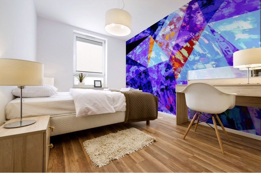 vintage psychedelic geometric triangle polygon pattern abstract in purple blue orange Mural print