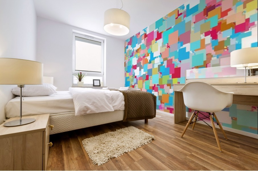 geometric square pixel pattern abstract background in blue pink orange green Mural print