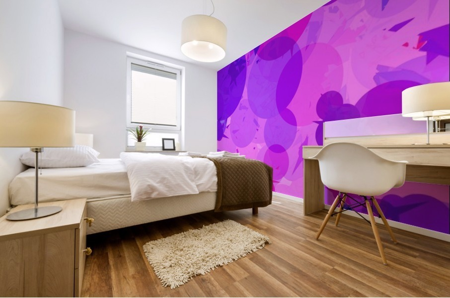 geometric circle and triangle pattern abstract in pink purple Mural print