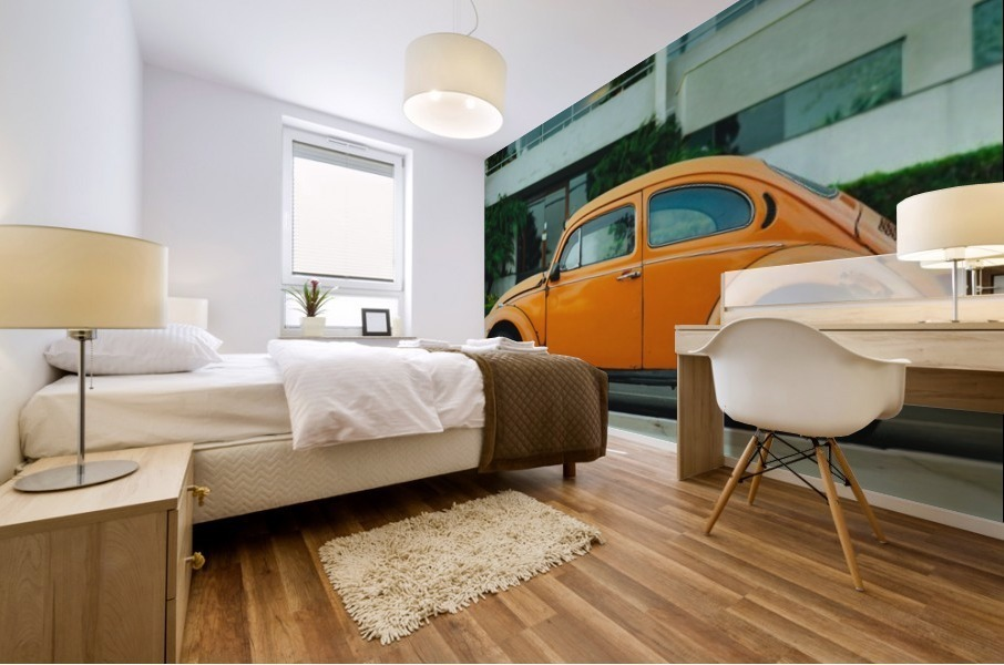Parked Yellow Coccinelle Mural print