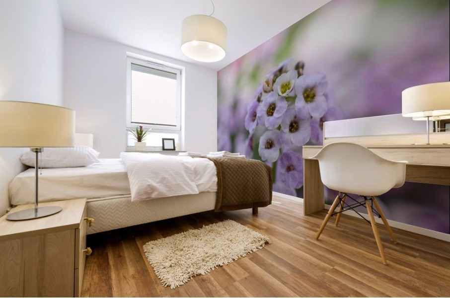 Small Purple White Flower Photograph Mural print