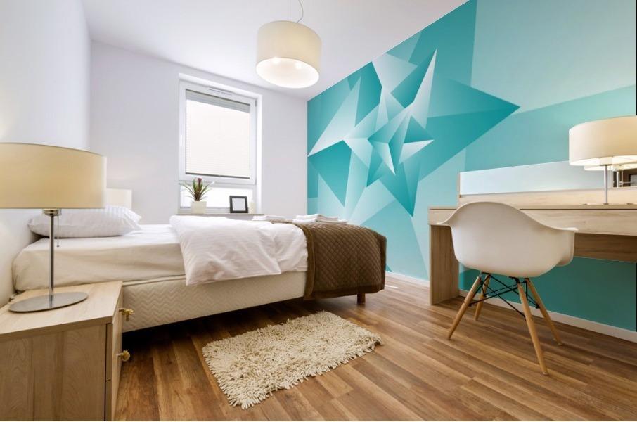 Bluish Trendy Triangle Art Mural print