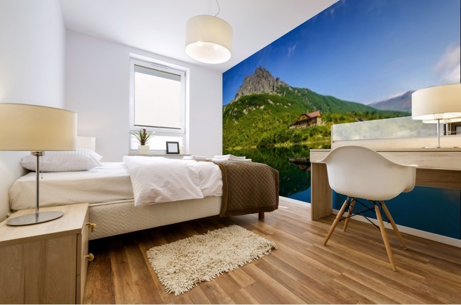 Mountain cottage at the Zelene pleso Mural print