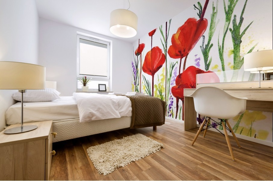 Red Poppies And Lavender Field Watercolor Mural print