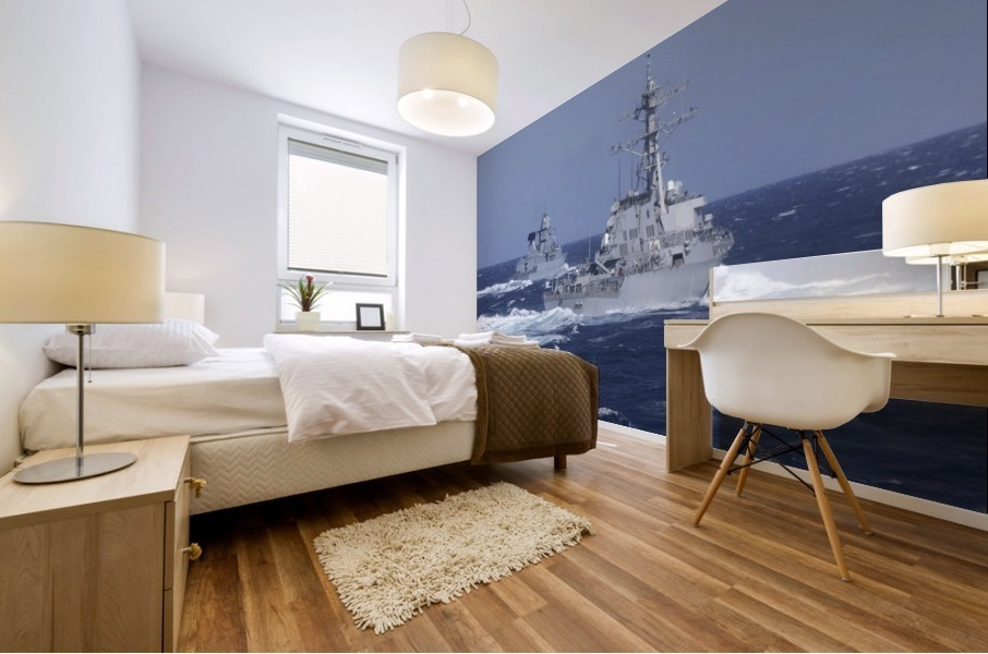 USS Carney practices diversion tactics with the German frigate Sachsen. Mural print