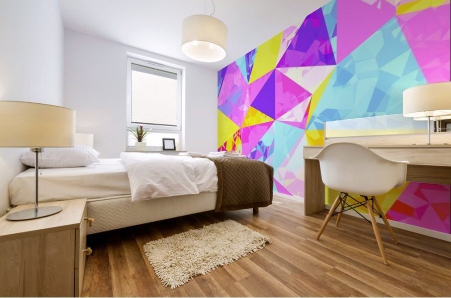 geometric triangle polygon pattern abstract in pink purple blue yellow Mural print