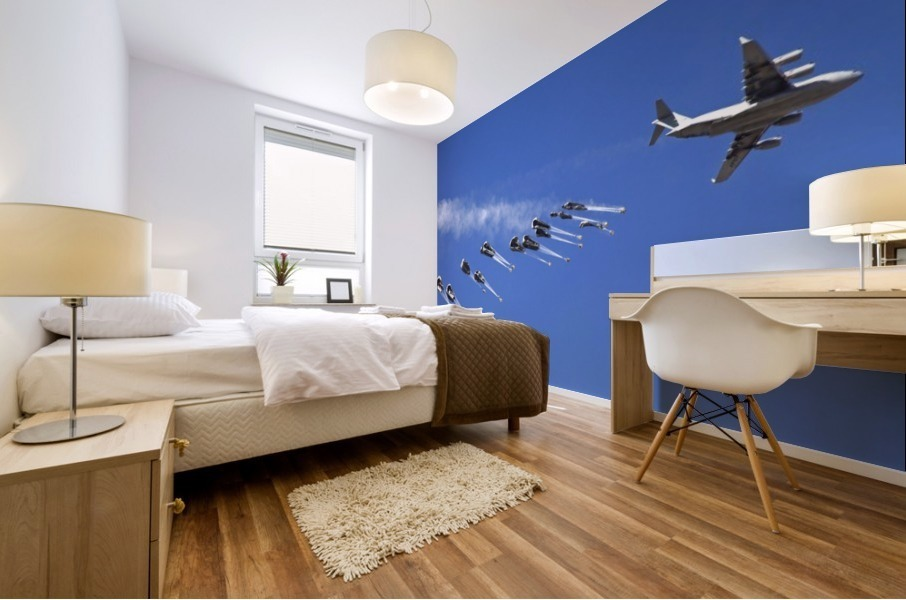 A C-17 Globemaster ejects a supply load of pallets during Operation Koranai Permakhtag. Mural print