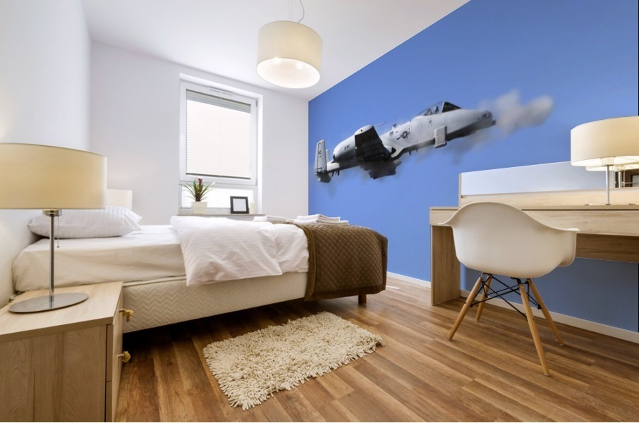 A pilot in an A-10 Thunderbolt II fires the planes 30-mm cannon. Mural print
