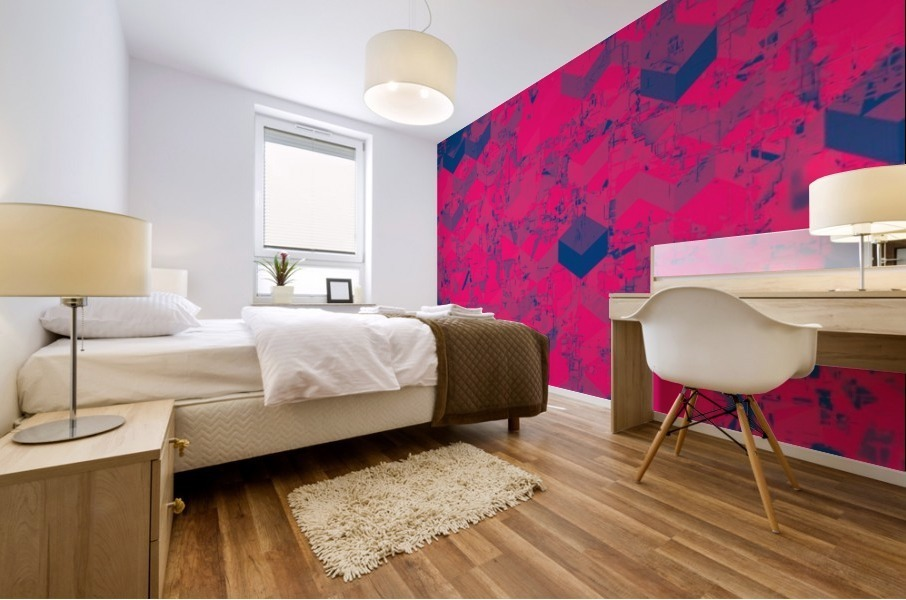 geometric square pattern abstract in pink blue Mural print