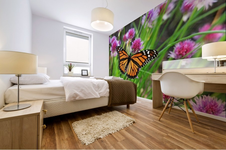 Monarch And Chives Mural print