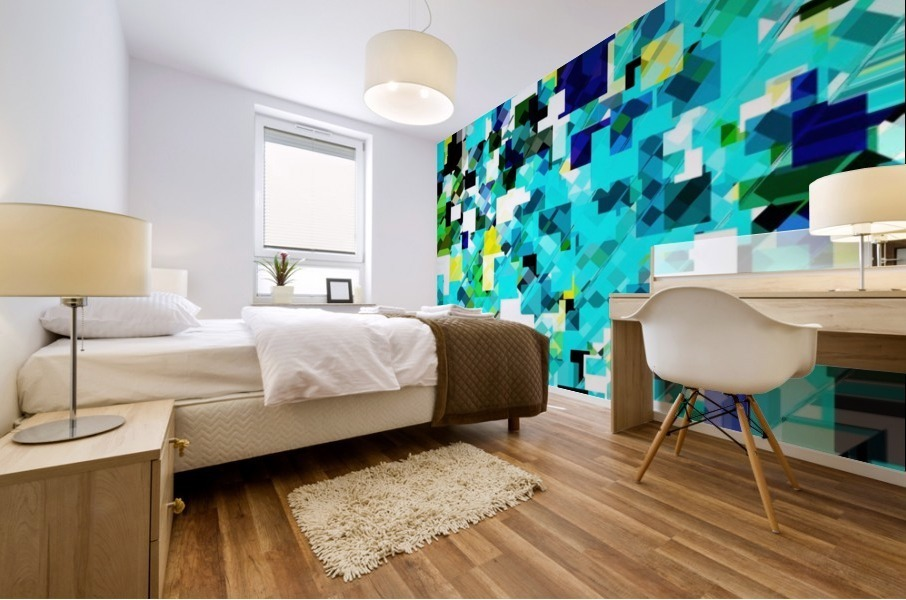 geometric square pixel pattern abstract in blue and yellow Mural print