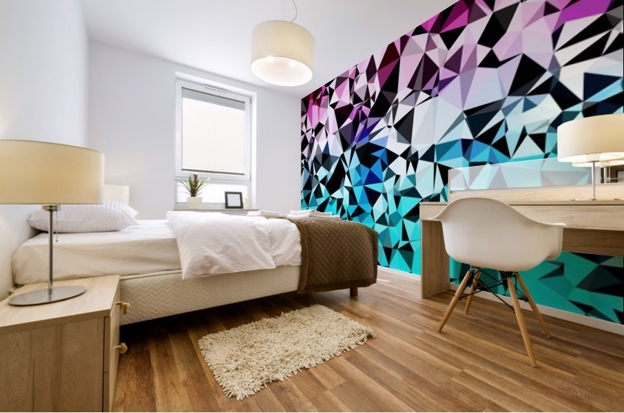 geometric triangle pattern abstract in pink blue black Mural print