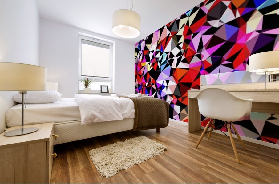 geometric triangle pattern abstract in red pink black blue Mural print