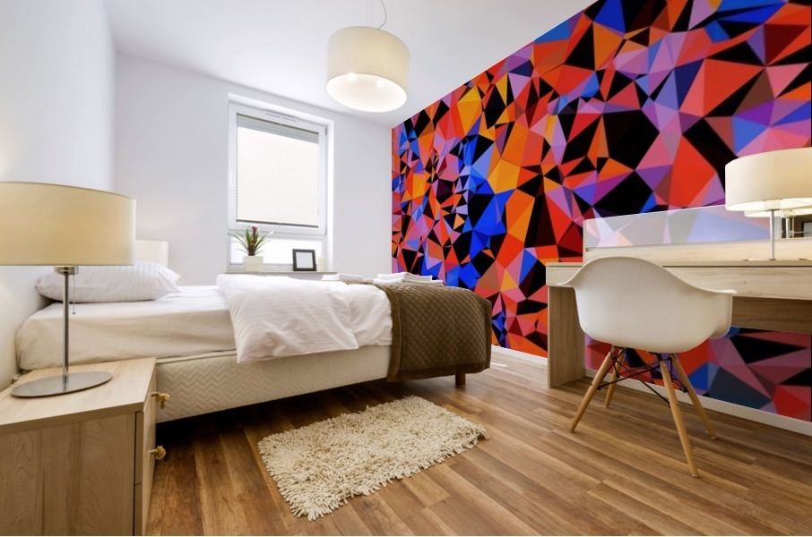 geometric triangle pattern abstract in blue orange red Mural print