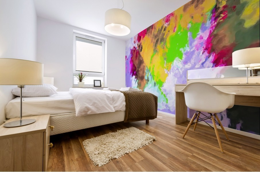 painting texture abstract background in purple yellow green pink Mural print