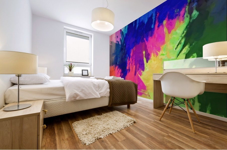 painting texture abstract background in blue pink yellow green Mural print
